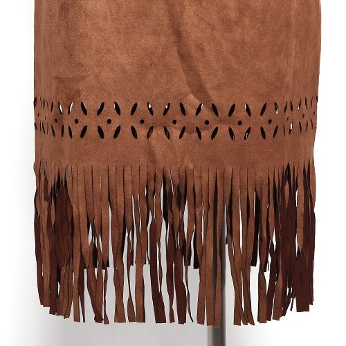 suede flower cut fringe skirt