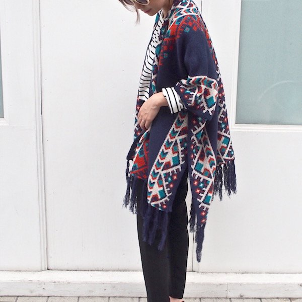 wide geometric poncho gown