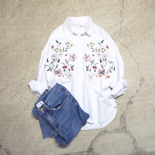 embroidery flower dolman shirt