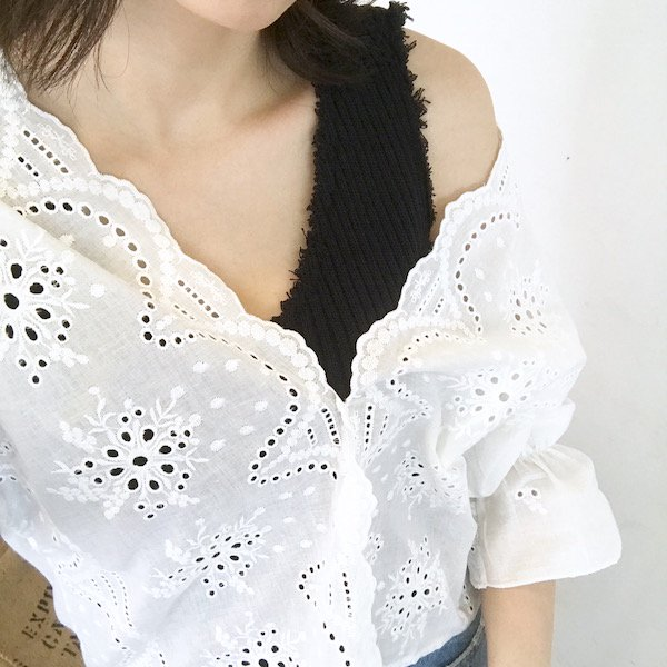 lace scallop cotton blouse
