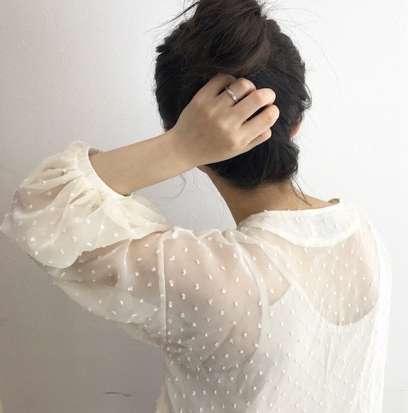 dot chiffon lace up blouse