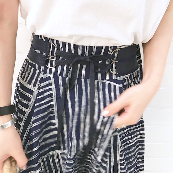 patching stripe long skirt