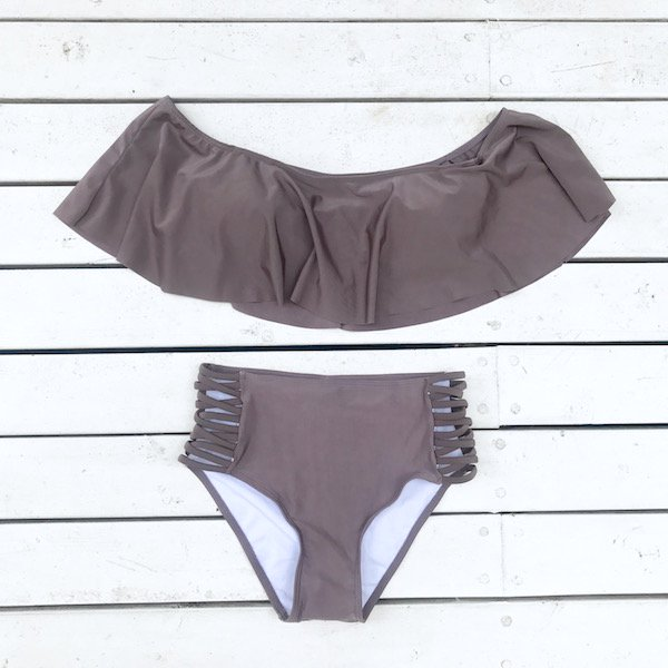 offshoulder 2way cross swim set