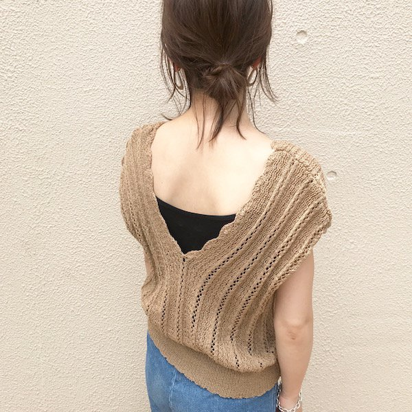 crochet scallop knit tank