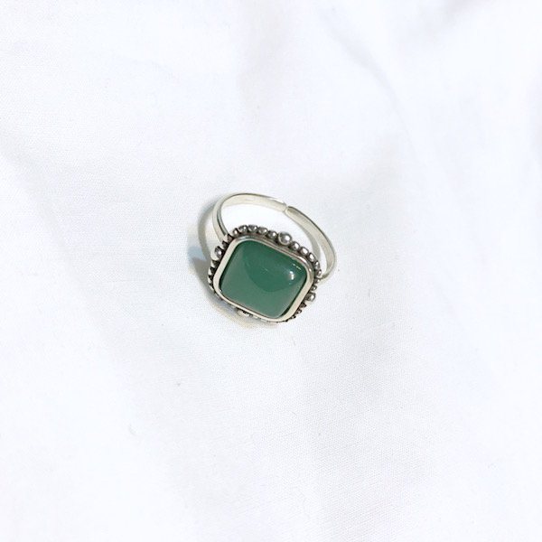 square natural stone ring