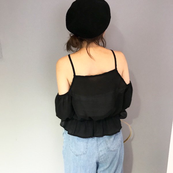 chiffon shoulder lathe up blouse