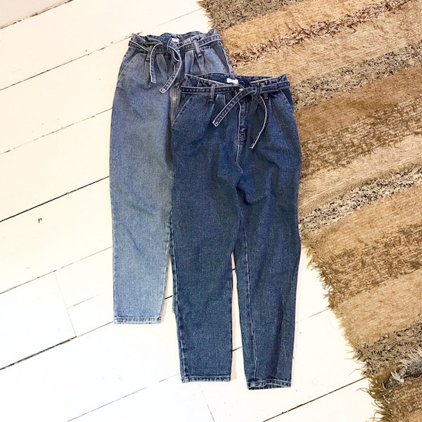 waist ribbon cropped denim