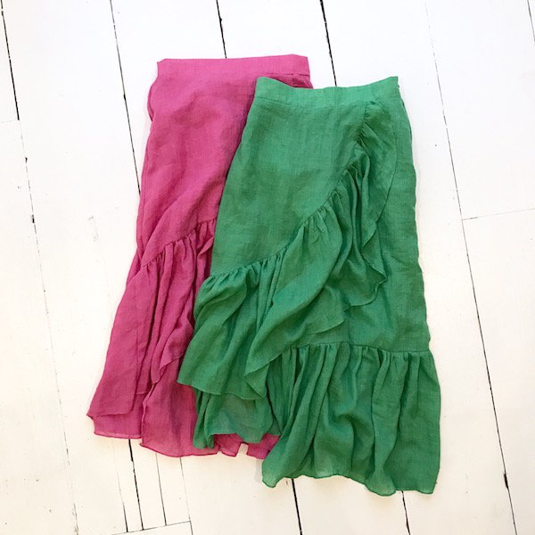 chiffon frill color skirt