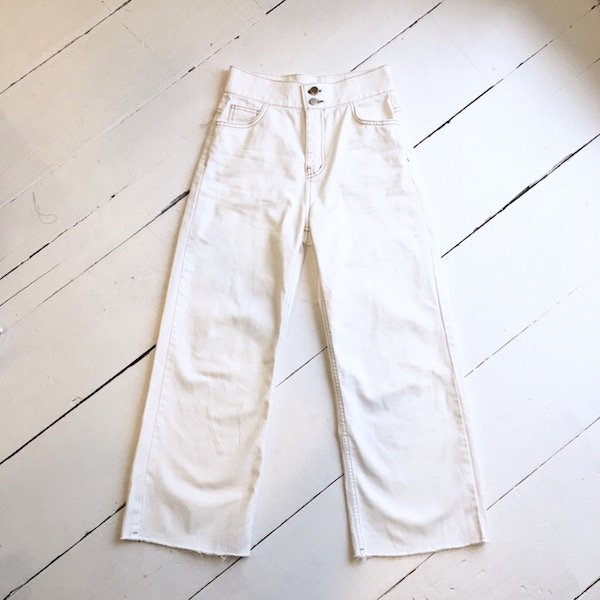 brown stitch white denim