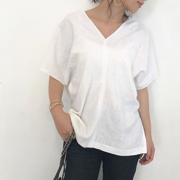 hemp V dolman blouse