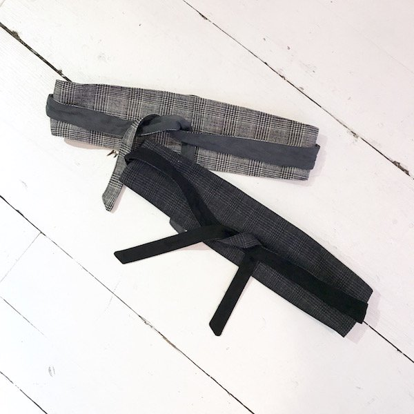 glen check suede reversible belt