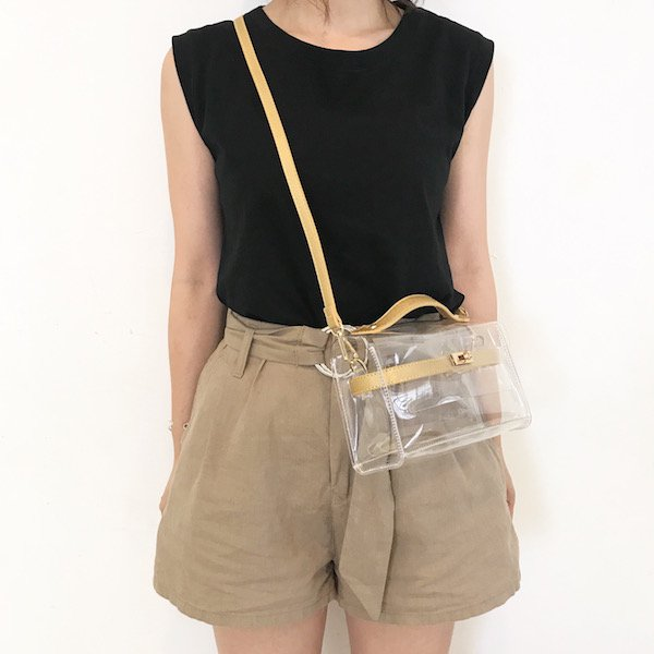 belt motif clear BAG