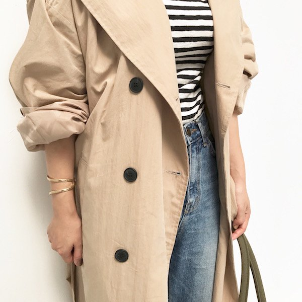 wide arm ruffled trench coat