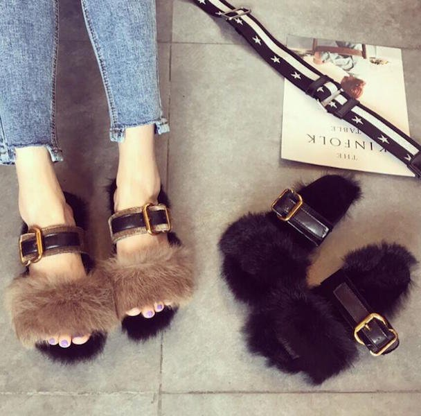 belt velours bi-color fur sandal