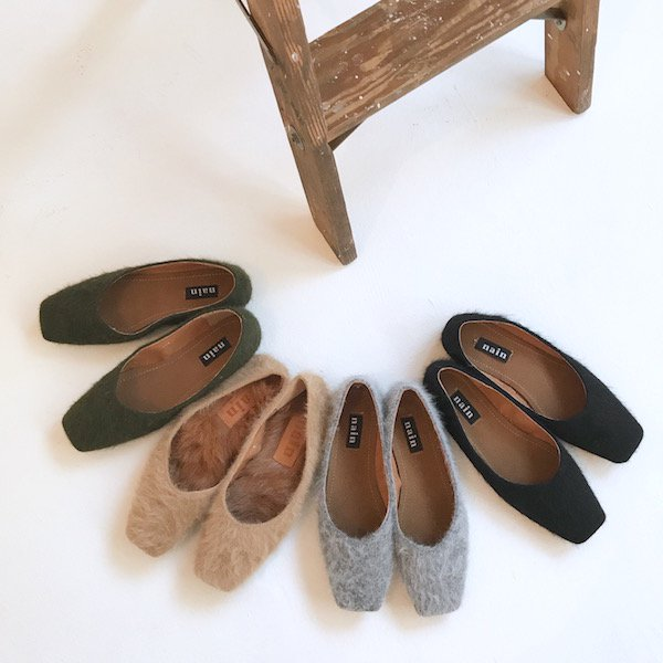 felt in fur 2way flat shoes