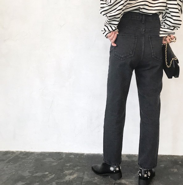 black high-waist ver up denim