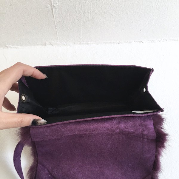 purple fur 2way waist BAG