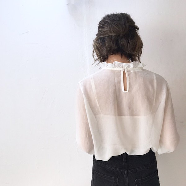 chiffon stand-up collar blouse