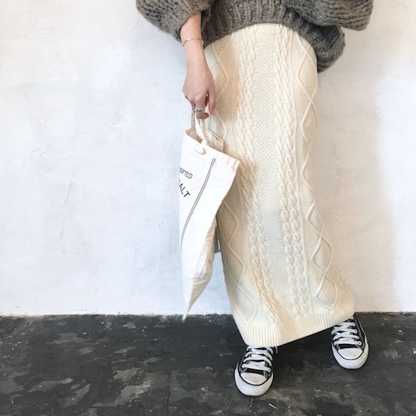 knit cable long skirt