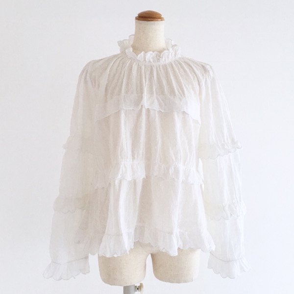 scallop frill dot cotton blouse