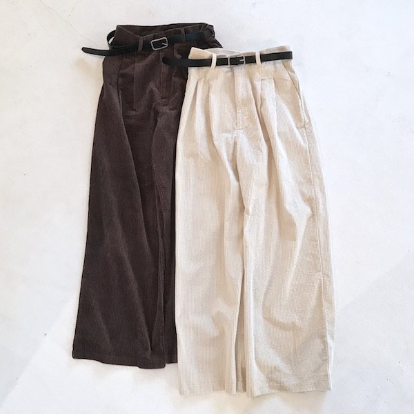 belt SET corduroy wide pants