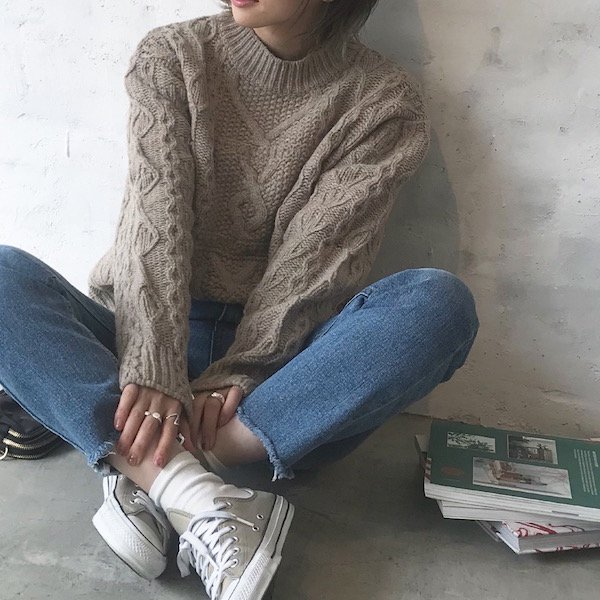 heartful cable spring knit