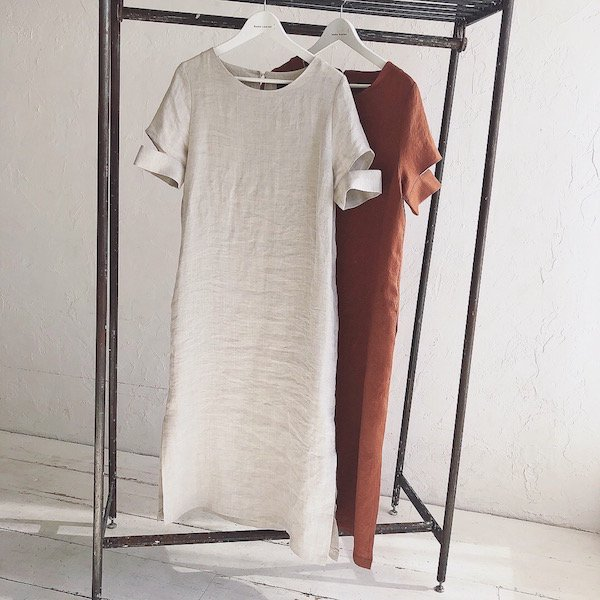 sleeve cut linen 2pattern one-piece