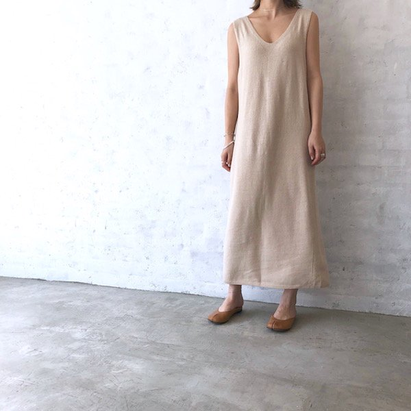 linen V long knit one-piece