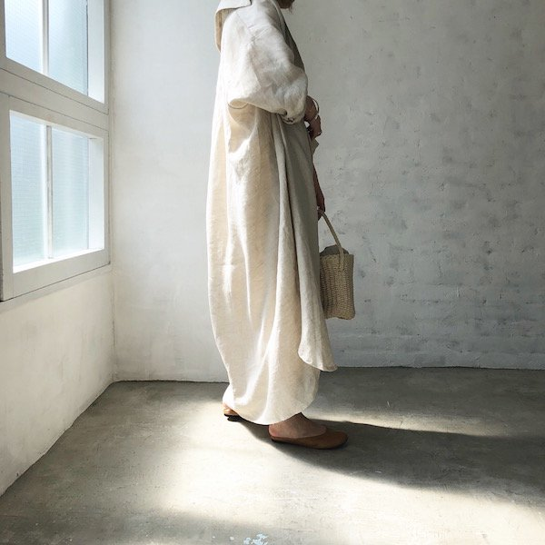 arm balloon linen long shirt OP
