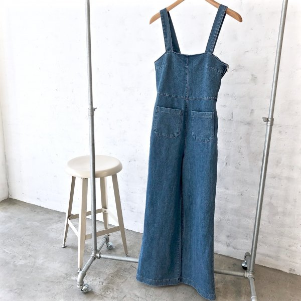 grownup shoulder denim all-in-one