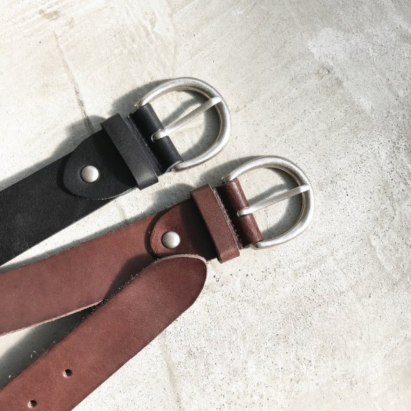 short real leather point belt