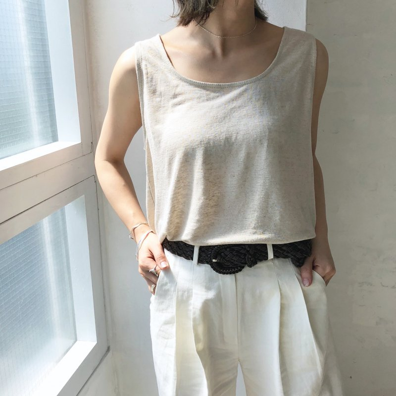 wide rough linen in tank top
