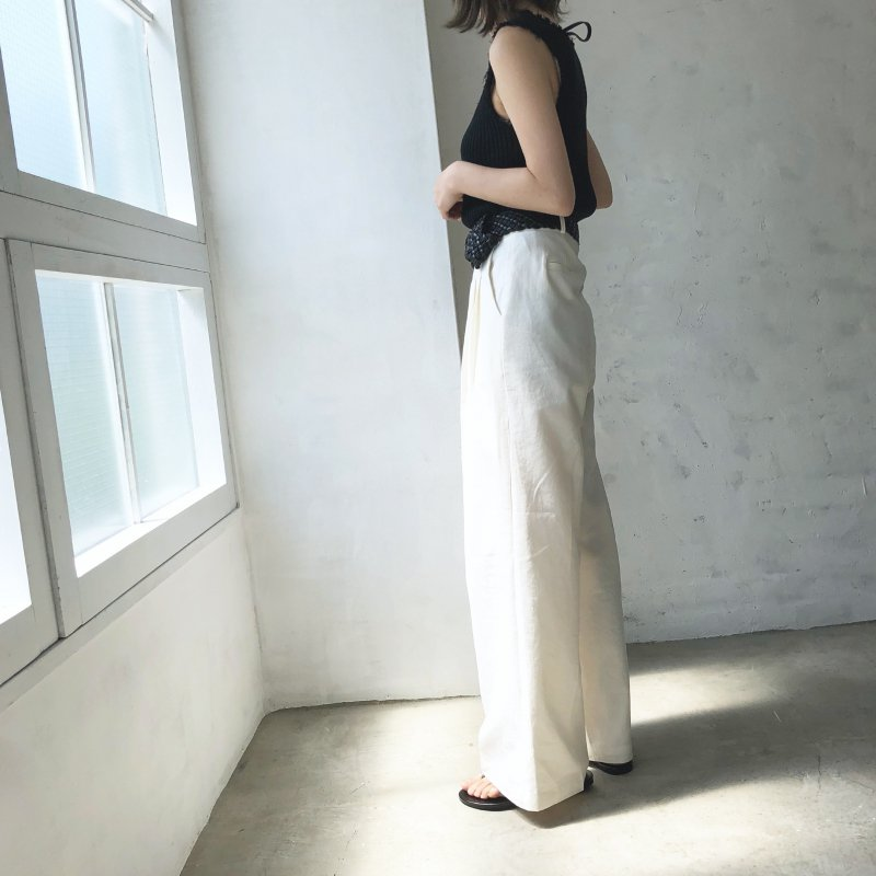 NEW linen tuck wide pants