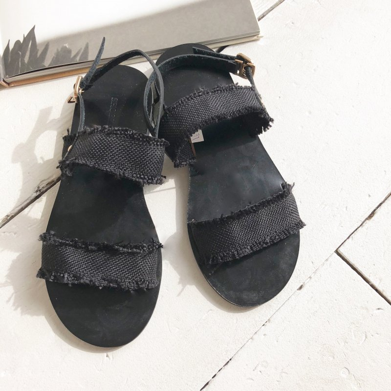 cotton fringe double sandal