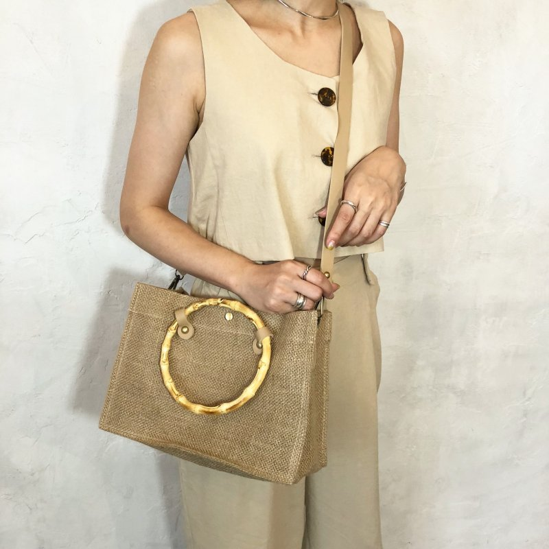 jute bamboo square BAG