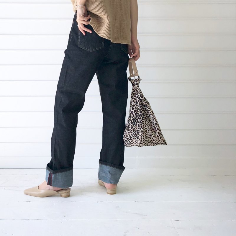 knot hand leather leopard BAG