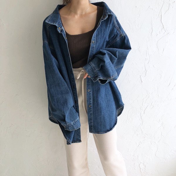 over boyfriend denim shirt