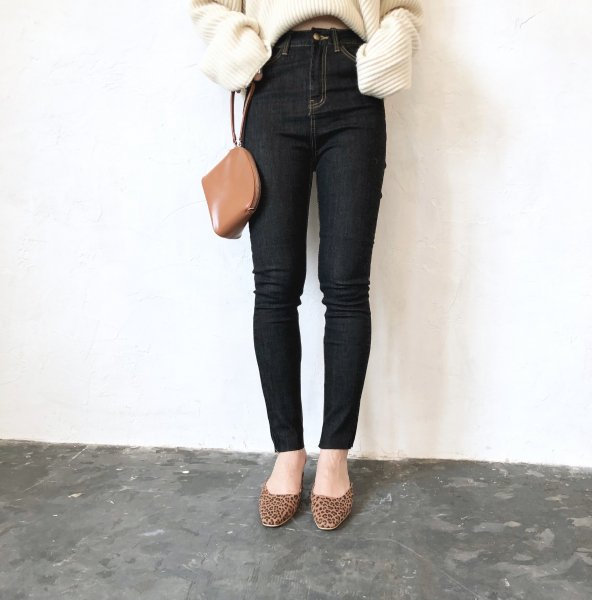high-waist stitch skinny denim
