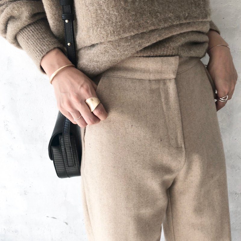 AW thick wool wide  pants