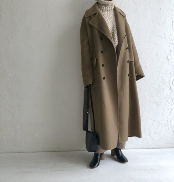 velvety wool double coat