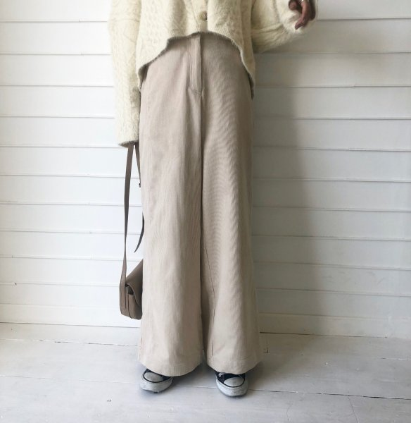 corduroy wide rough pants
