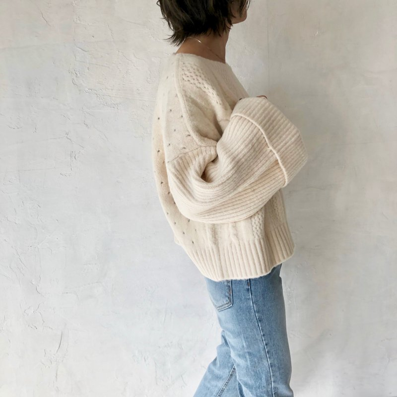 chain cable back dot knit