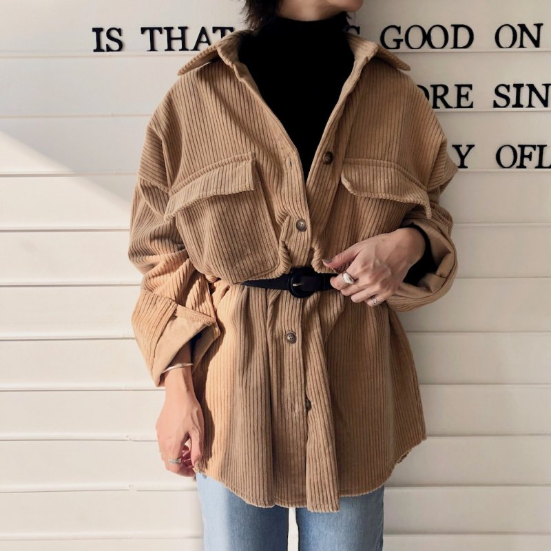 fluffy corduroy swain long shirt