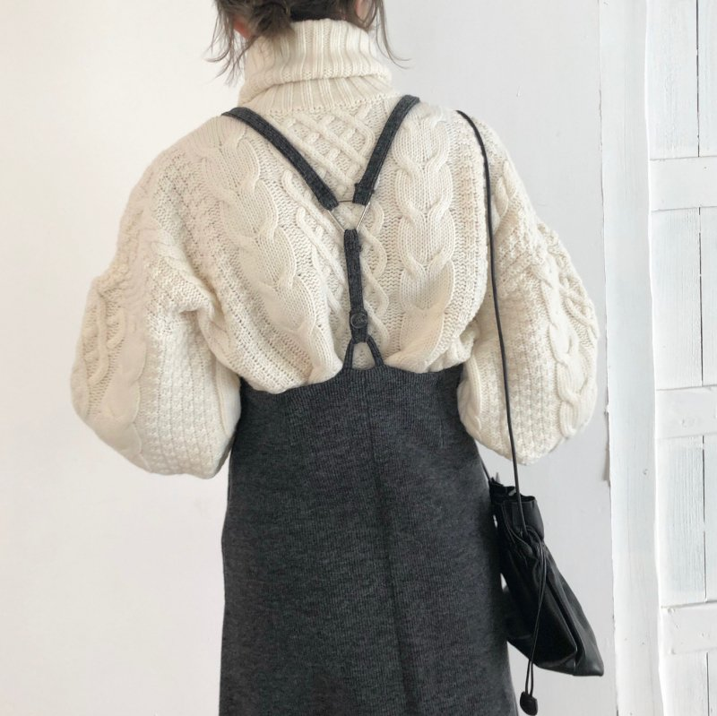 suspender high-waist knit skirt