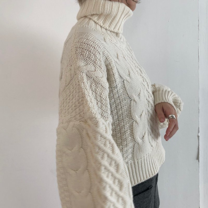 tightly cable turtle S/knit