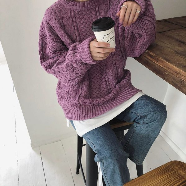 loosely alan knit -new color-