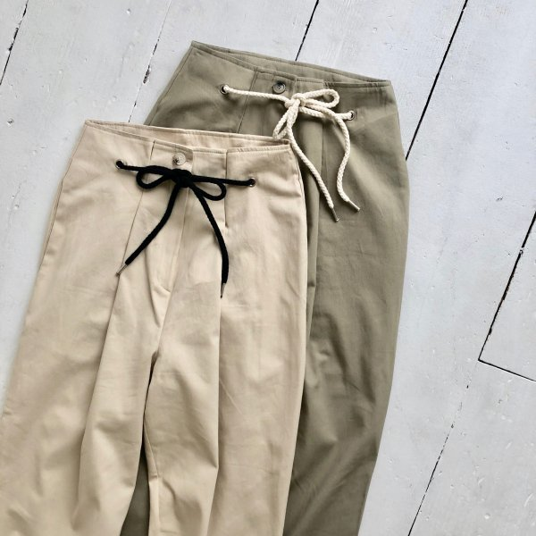 rope in tuck cropped pants