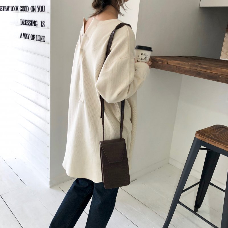 croco vertically long BAG