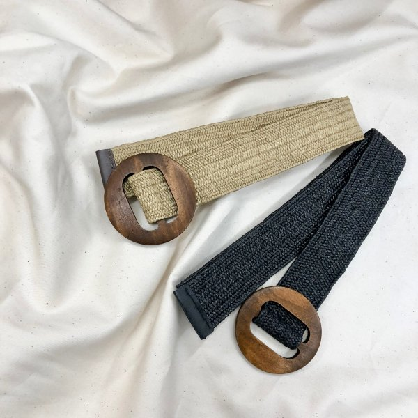 wood circle natural belt