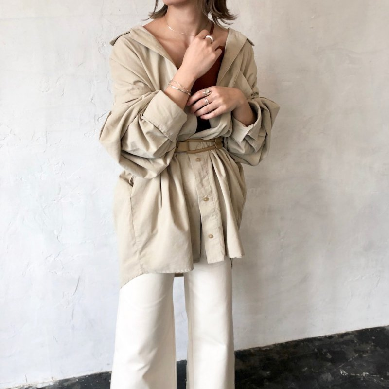 open collar long corduroy shirt
